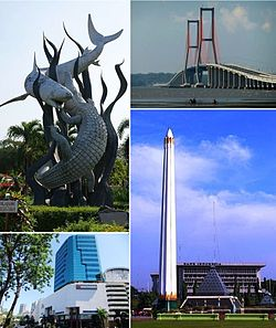 From top left, clockwise: Sura and Baya statue in Surabaya Zoo, Suramadu Bridge, Heroes Monument, Tunjungan Plaza