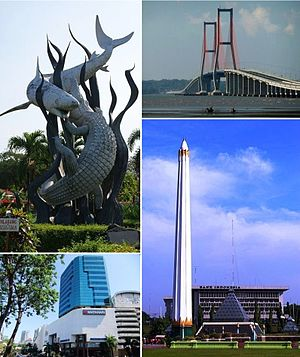 From top left, clockwise: Sura and Baya statue in Surabaya Zoo, Suramadu Bridge, Heroes Monument, Tunjungan Plaza.