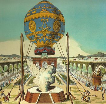 English: The first manned hot-air balloon, des...