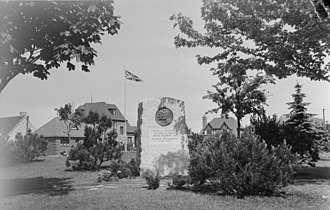 Hampstead, Quebec - Monument in Hampstead Park for King George VI and Princess Elizabeth (1939)
