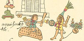 Moquihuix - Moquihuix fighting a Tenochca warrior, in the Codex Telleriano-Remensis.