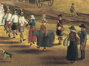 Hobby horse - Painting of a hobby horse with Morris dancers beside the River Thames at Richmond, London, c.1620
