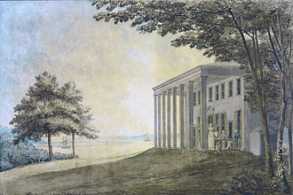 Mount Vernon - Mount Vernon (1796) with the Washington family on the terrace (Benjamin Henry Latrobe)
