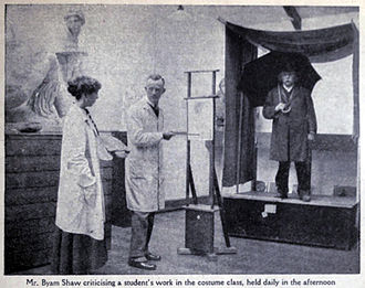 Byam Shaw School of Art - Byam Shaw criticising a student's work in the costume class in the early days of the school