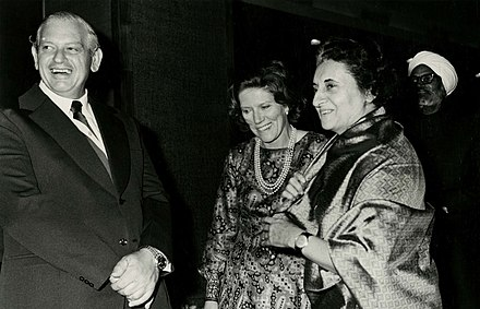 Kirk at the High Commissioner's Reception, New Delhi, 29 December 1973, with Indian Prime Minister Indira Gandhi Mr Kirk at the High Commissioner's Reception (9627638726).jpg