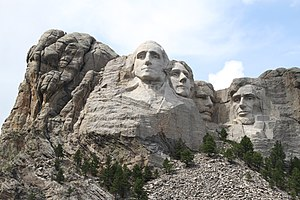 Mount Rushmore - Sculptures of George Washington, Thomas Jefferson, Theodore Roosevelt and Abraham Lincoln (left to right)