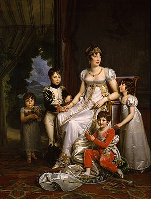 Prince Achille Murat - Achille (in uniform), with his brother, sisters and mother Caroline Bonaparte.