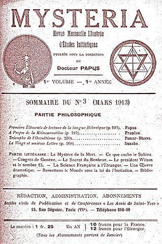 Публикация Папюса и Punar Bhava (Чинского). «Misteria» №3, 1913г.