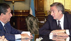 Federal Peronism - The endorsement of President Eduardo Duhalde (left) was decisive in Néstor Kirchner's rise to power in 2003, and their later rivalry led Duhalde to form Federal Peronism.