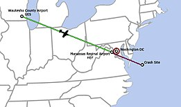 Map of eastern United States. The aircraft flies straight from Wisconsin to its destination in virginia near Washington DC, however it continues to fly over the ocean where it crashes about 50 miles off the coast.