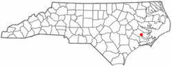 Location of Bridgeton, North Carolina