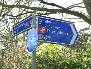National Cycle Route 21 - NCR 21 sign near Crawley