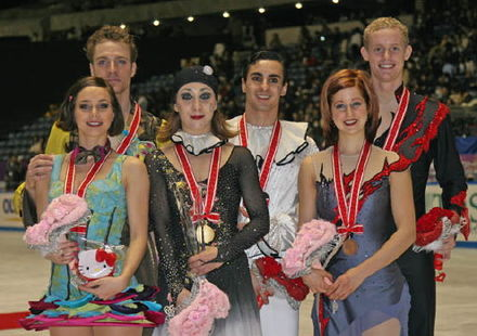 Faiella/Scali with their fellow medalists at the 2008 NHK Trophy