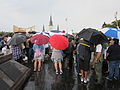 NOLA BP Oil Flood Protest brollys Cathedral 1.JPG