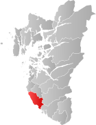 Locator map showing Hå within Rogaland