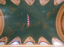 Ceiling painted green, with gold-colored constellations across the entire mural