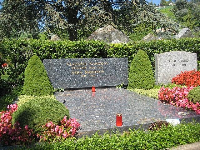 Могила Набоковых в Cimetière de Clarens (Швейцария)