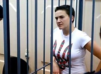 Nadiya Savchenko - Savchenko at the Moscow Basmanny court trial (February 10, 2015).