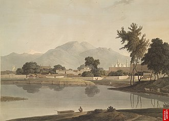 Najib ad-Dawlah -  Najibabad, ca 1784-94, the triple domed Jami Mosque and the entrance gate to the Rohilla palace