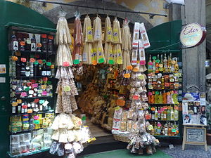 Pasta - Typical products shop in Naples with pasta on display