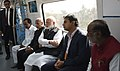 Narendra Modi taking a ride in Hyderabad Metro along with the Governor of Andhra Pradesh and Telangana, Shri E.S.L. Narasimhan, the Chief Minister of Telangana.jpg