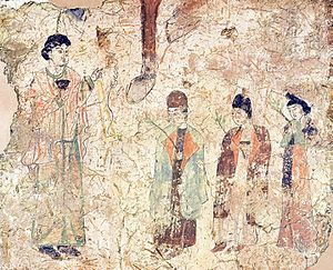 Church of the East in China - Nestorian priests in a procession on Palm Sunday, in a T'ang dynasty wall-painting from a Nestorian church in Khocho, China