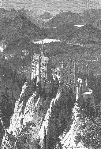 Neuschwanstein Castle - Neuschwanstein in 1886 (Illustration from Die Gartenlaube)