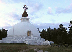 The New England Peace Pagoda is in Leverett, Massachusetts.