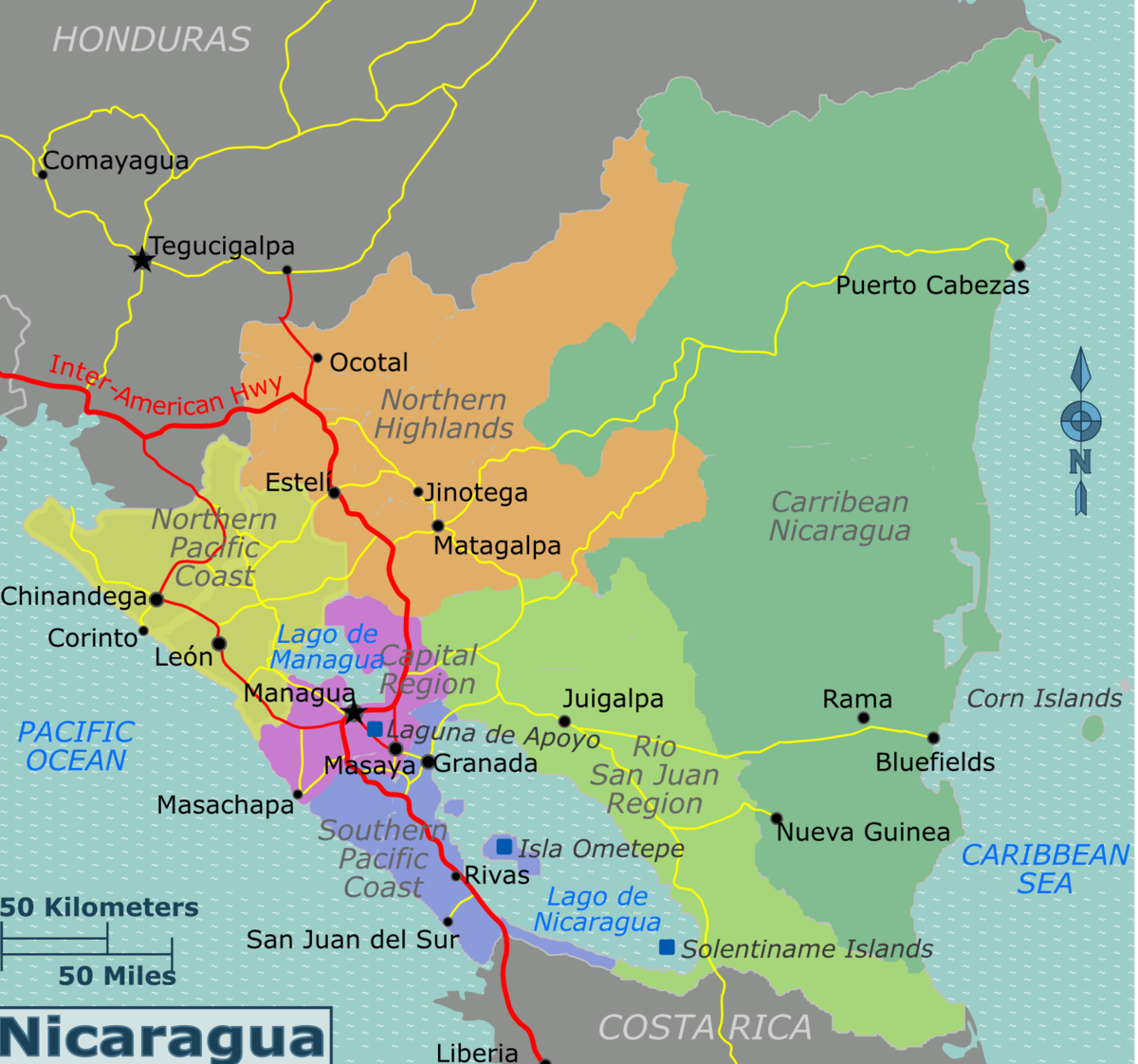 Nicaragua Travel Guide At Wikivoyage - Country map of nicaragua