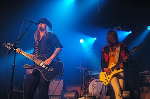 Nicke Andersson and Robert Dahlqvist performing live in Barcelona during The Tour Before the Fall in 2008.