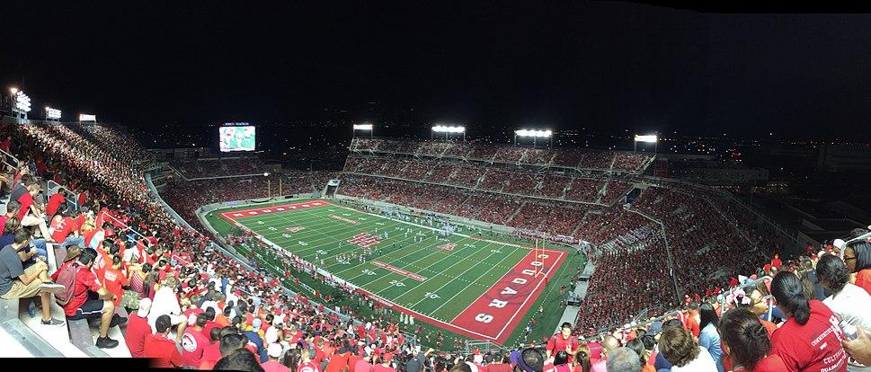 Night panorama of TDECU Stadium