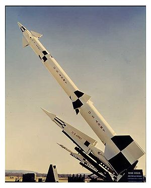 Nike Zeus - The Nike missile family, with the Zeus B in front of the Hercules and Ajax.