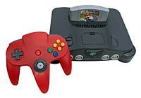 Nintendo 64 with Mario Kart 64 cartridge 20040725.jpg