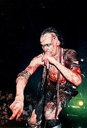 Photo of Nivek Ogre during Skinny Puppy's 1990 Too Dark Park tour.