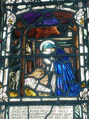 Christopher Whall works in Gloucester Cathedral - One of the scenes from Mary's life - The Nativity-Window 5