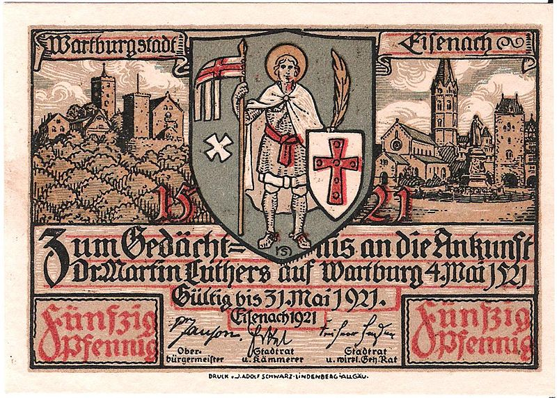 File:Notgeld Eisenach - Luther auf Wartburg 0.jpg
