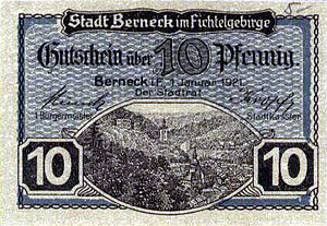 Bad Berneck im Fichtelgebirge - Notgeld (emergency currency) from 1921: a 10 Pfennig note