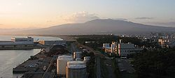 View from Numazu harbor towards Mount Fuji (in clouds)