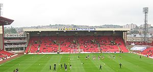 Tiverton Preedy - A modern view of the Oakwell stadium.  Preedy secured for the club the use of the land on which the stadium still stands.