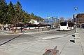 Oasen shopping mall (kjøpesenter, bydelssenter) in Folke Bernadottes vei, Fyllingsdalen, Bergen, Norway. Skyss bus station at main entrance, etc. 2018-03-17.jpg