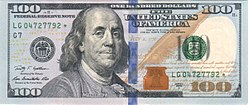 Obverse of the series 2009 $100 Federal Reserve Note