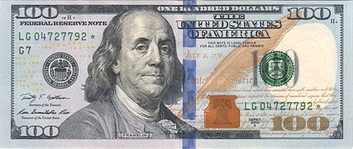 Obverse of the series 2009 $100 Federal Reserve Note.jpg