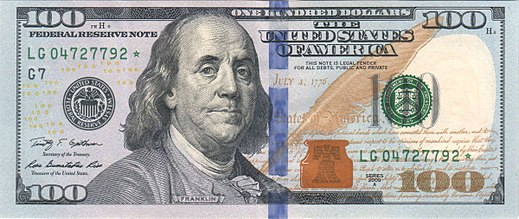 Franklin on the Series 2009 hundred dollar bill New100front.jpg