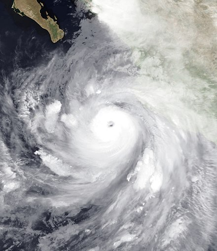 Hurricane Odile at its peak intensity. Odile had the lowest atmospheric pressure of a Category 4 hurricane in the Pacific basin, east of 180degW, at 918 mbar (hPa; 27.11 inHg). Odile 2014-09-14 0600Z.jpg
