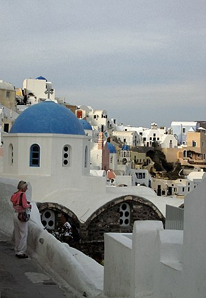 Oia, Greece - Oia church with cupola painted blue and white washed walls