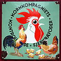 Old Danish enamel advertising sign, Kornkompagniets Fjerkraefoder.JPG