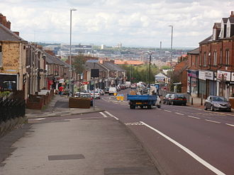 Deckham - From the southern end of Old Durham Road, the steep slope north towards central Gateshead is apparent and the cityscape of Newcastle upon Tyne is clearly visible.