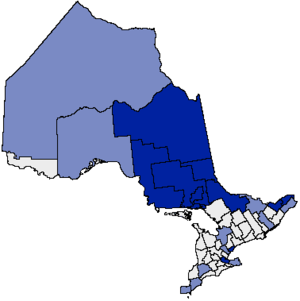Franco-Ontarian - Map of French service areas in Ontario. Dark blue indicates areas designated in their entirety; light blue indicates areas that include designated communities.