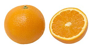 An orange whole and split