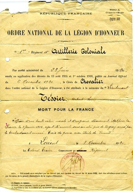 "Notice of posthumous award of the Croix de Chevalier to lieutenant Tessier--Mort pour la France (""Died for France"") in World War I Ordre national de la Legion d'Honneur, Croix de Chevalier attribuee au lieutenant Tessier.jpg"